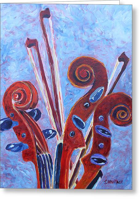 Violin Bows Violin Bows Greeting Cards - Scroll Bouquet Greeting Card by Jenny Armitage