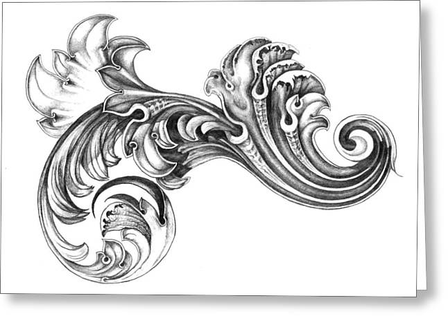 Scroll Drawings Greeting Cards - Scroll Greeting Card by Wendy Hutchison