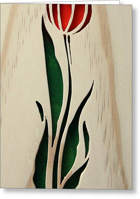 Floral Sculptures Greeting Cards - Scrolled Tulip Greeting Card by Bill Fugerer