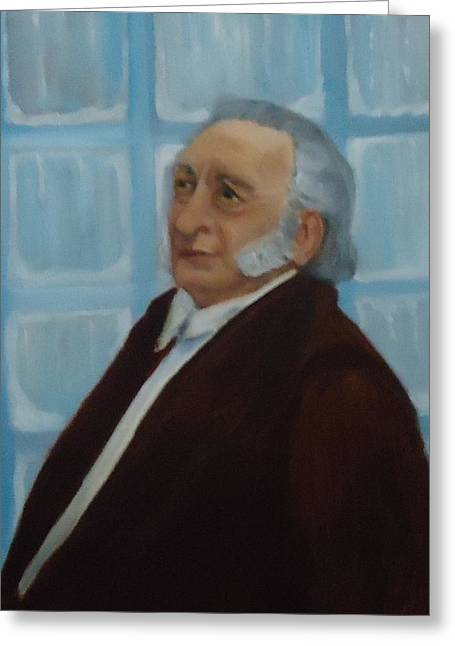 George C. Scott Greeting Cards - Scrooge Undone Greeting Card by Betty Pimm