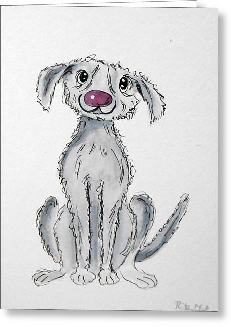 Custom Pet Drawing Greeting Cards - Scruffy smiley Dog Greeting Card by Rita Drolet
