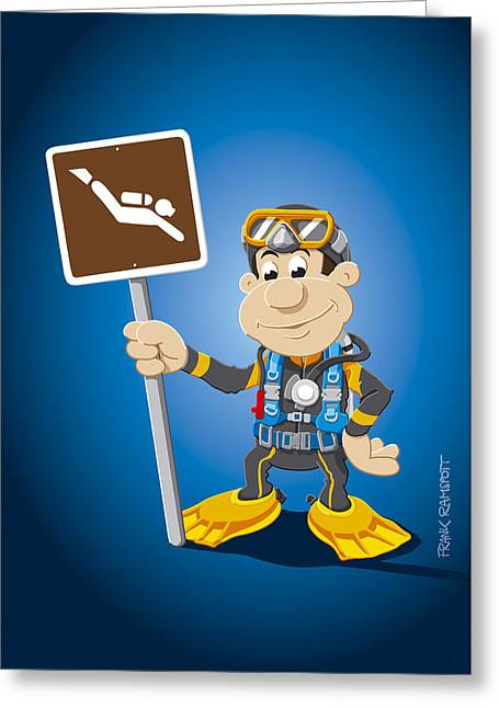 Cartoon Greeting Cards - Scuba Diver Cartoon Man Diving Sign Greeting Card by Frank Ramspott