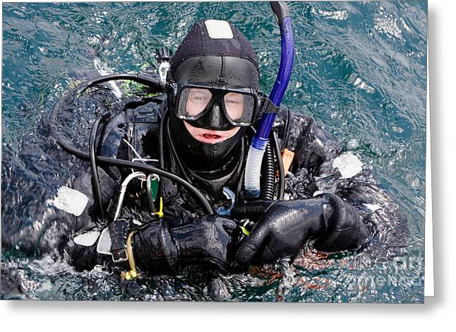 Caucasion Greeting Cards - Scuba Diver in Water Greeting Card by Michael Mattner
