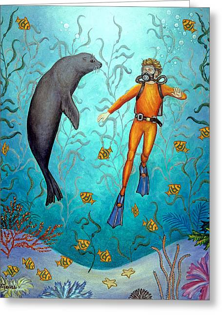 Sea Lions Greeting Cards - SCUBA Diver Two Greeting Card by Linda Mears