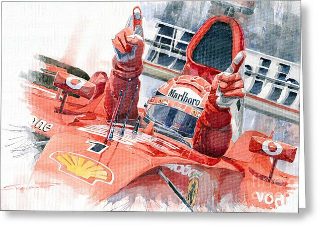 Racing Car Greeting Cards - Scuderia Ferrari Marlboro F 2001 Ferrari 050 M Schumacher  Greeting Card by Yuriy  Shevchuk