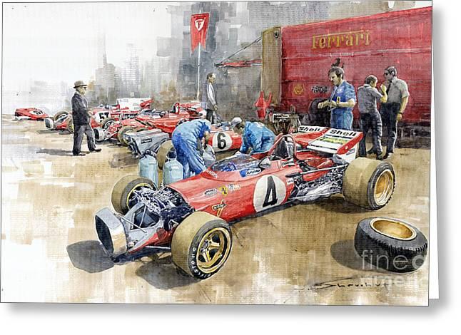 Automotive Greeting Cards - Scuderia Ferrari Paddock Spanish GP 1971 Ferrari 312B2  Greeting Card by Yuriy Shevchuk