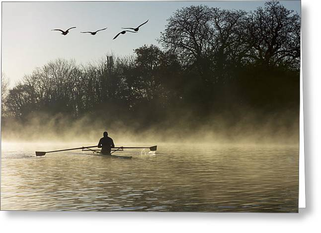 Canoe Photographs Greeting Cards - Sculling In Mist On River Thames_ Greeting Card by Charles Bowman