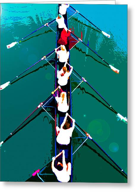 Rowing Digital Art Greeting Cards - Rowing in the sun Greeting Card by David Lee Thompson