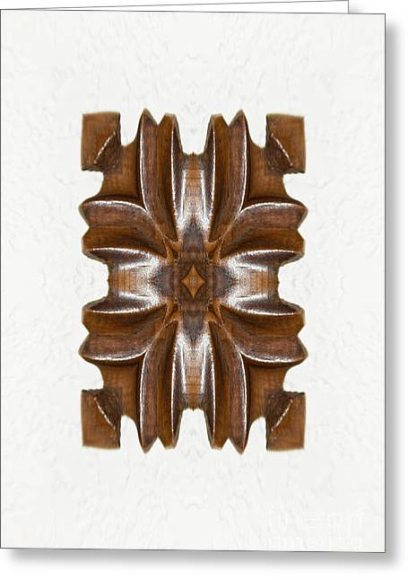 Wooden Sculpture Greeting Cards - Sculpted Mandala Yantra Greeting Card by Marie Jamieson