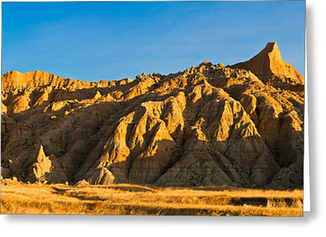 Days Pass Greeting Cards - Sculpted Sandstone Spires In Golden Greeting Card by Panoramic Images