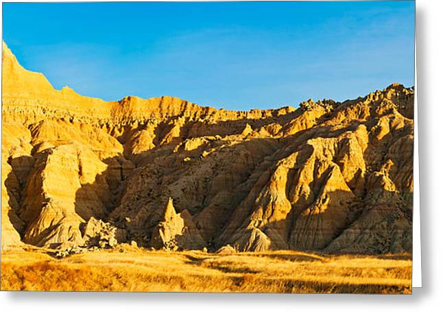 Badlands National Park Greeting Cards - Sculpted Sandstone Spires Greeting Card by Panoramic Images