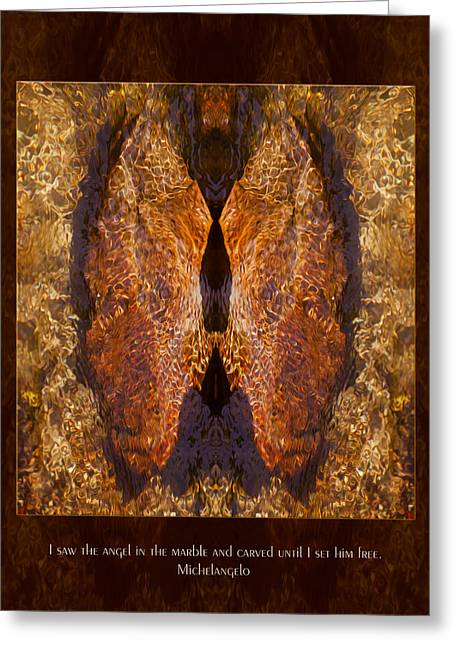 Omaste Witkowski Greeting Cards - Sculpting an Angel Greeting Card by Omaste Witkowski