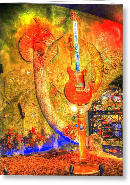 Guitar Sculpture Greeting Cards - Sculpture at the House of Blues in Las Vegas Greeting Card by Zane Kuhle