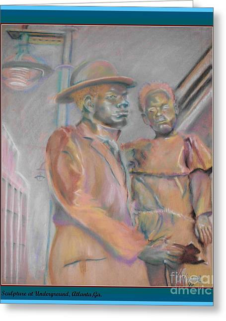 African-american Pastels Greeting Cards - Sculpture at Underground Atlanta Greeting Card by Keith OBrien Simms