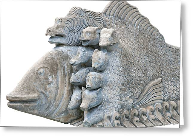 Asia Sculptures Greeting Cards - Sculpture fish Greeting Card by Pong Am