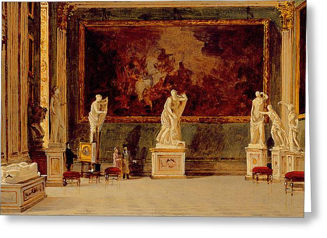 Pedestal Greeting Cards - Sculpture Gallery at the Pitti Palace in Florence Greeting Card by Antonietta Brandeis