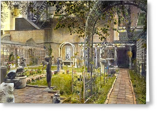 Kinkade Greeting Cards - Sculpture Garden Greeting Card by Terry Reynoldson