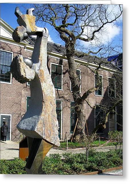 Geobob Greeting Cards - Sculpture Mother Child Botanical Garden Leiden Holland Netherlands Greeting Card by Robert Ford