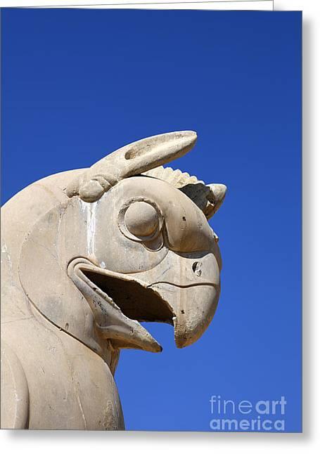 Ancient Persian Art Greeting Cards - Sculpture of a Homa bird at Persepolis in Iran Greeting Card by Robert Preston