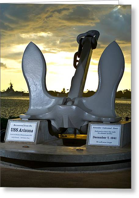 Pearl Harbor Greeting Cards - Sculpture Of An Anchor, Uss Arizona Greeting Card by Panoramic Images