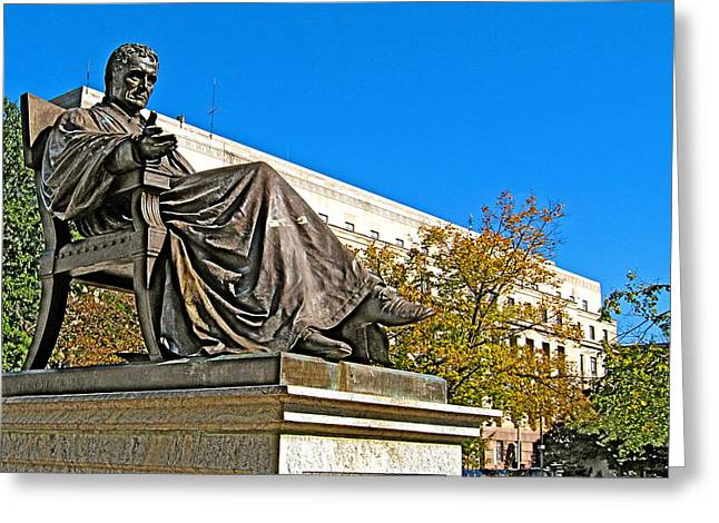 Chief Justice Greeting Cards - Sculpture of Chief Justice John Marshall near Prettyman Building in Washington DC Greeting Card by Ruth Hager