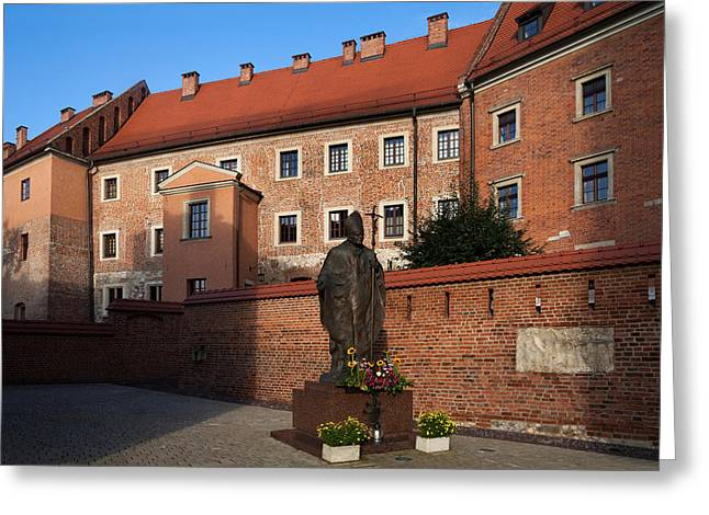 Krakow Greeting Cards - Sculpture Of Pope John-paul Ii Father Greeting Card by Panoramic Images