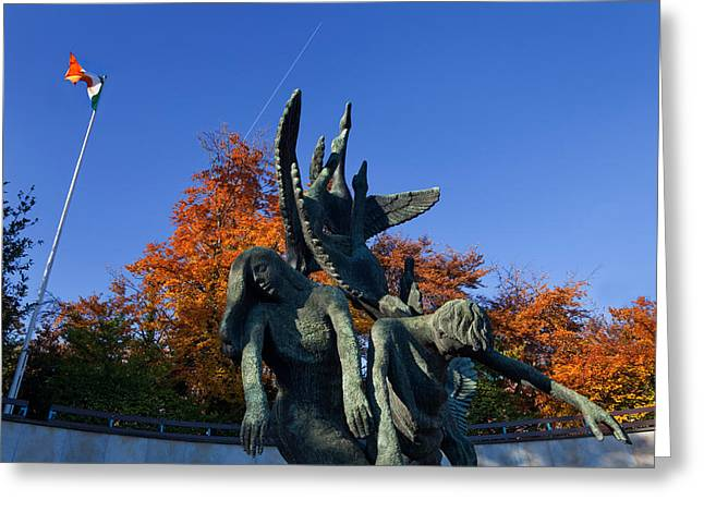 Colors Of Autumn Greeting Cards - Sculpture Of The Children Of Lir Greeting Card by Panoramic Images