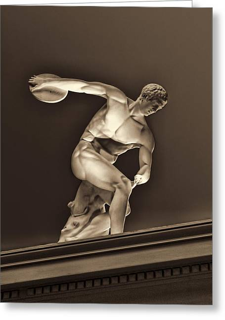 Disk Greeting Cards - Sculpture Olympic Athlete Greeting Card by Linda Phelps