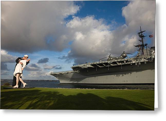 Aircraft Carrier Greeting Cards - Sculpture Unconditional Surrender Greeting Card by Panoramic Images