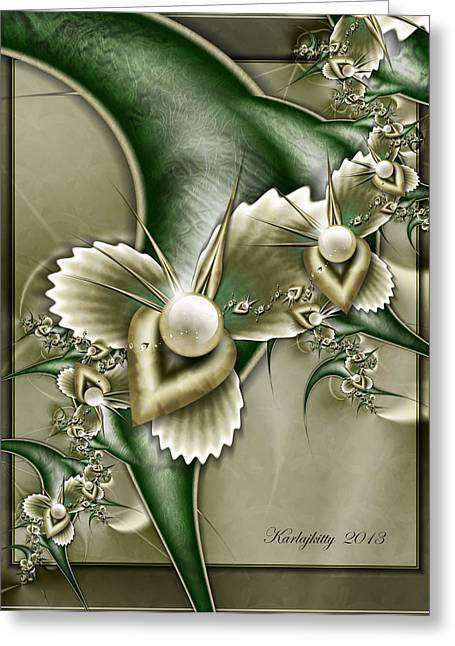 Karlajkitty Digital Art Greeting Cards - Sculptured Pearls Greeting Card by Karla White