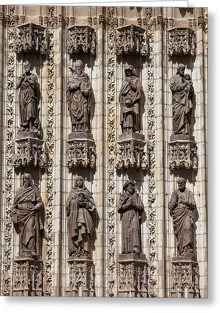 Sculpture Relief Greeting Cards - Sculptures of Saints on Seville Cathedral Facade Greeting Card by Artur Bogacki