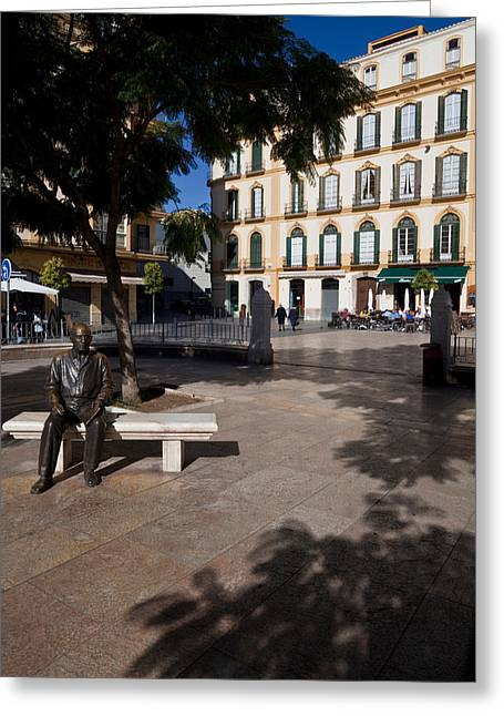 Pablo Ruiz Greeting Cards - Scupture Of Picasso On The Plaza De La Greeting Card by Panoramic Images