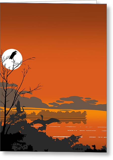 Beach Decor Digital Art Greeting Cards - Abstract Tropical Birds Sunset large Pop Art Nouveau Landscape 4 - Middle Greeting Card by Walt Curlee
