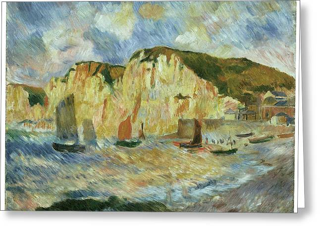 Cliffs Over Ocean Greeting Cards - Sea and Cliffs Greeting Card by Pierre-Auguste Renoir
