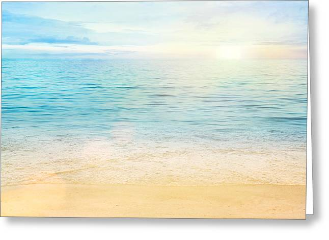 Sunset Greeting Cards Greeting Cards - Sea and sand background Greeting Card by Mythja  Photography