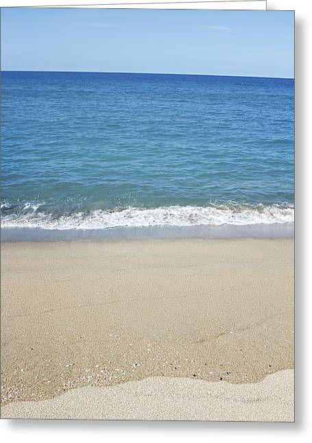 Water Photographs Greeting Cards - Sea and sand Greeting Card by Les Cunliffe