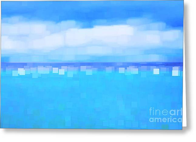 Lounge Digital Greeting Cards - Sea and Sky Abstract Greeting Card by Natalie Kinnear