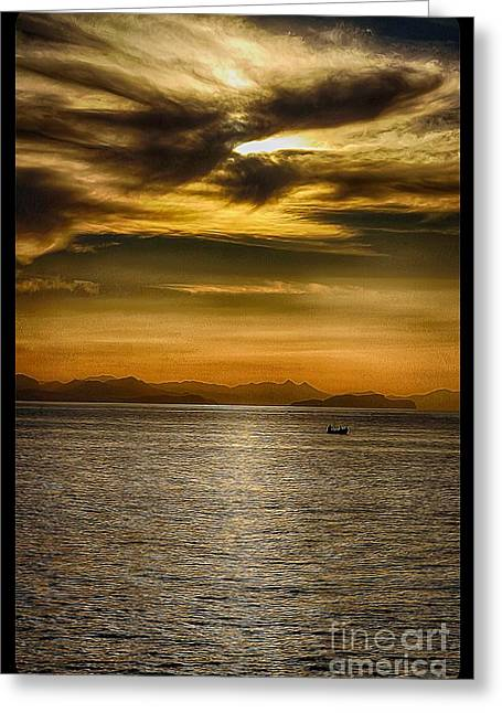 Boats In Water Greeting Cards - Sea and Sunset in Sicily Greeting Card by Stefano Senise