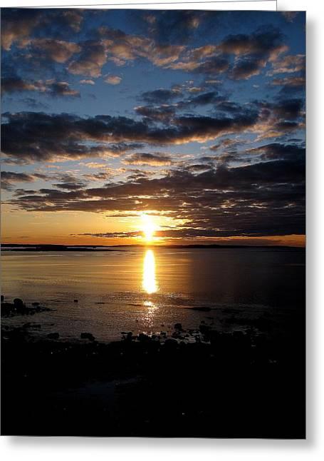 Maine Beach Greeting Cards - Sea Bank Sunrise Greeting Card by Donnie Freeman