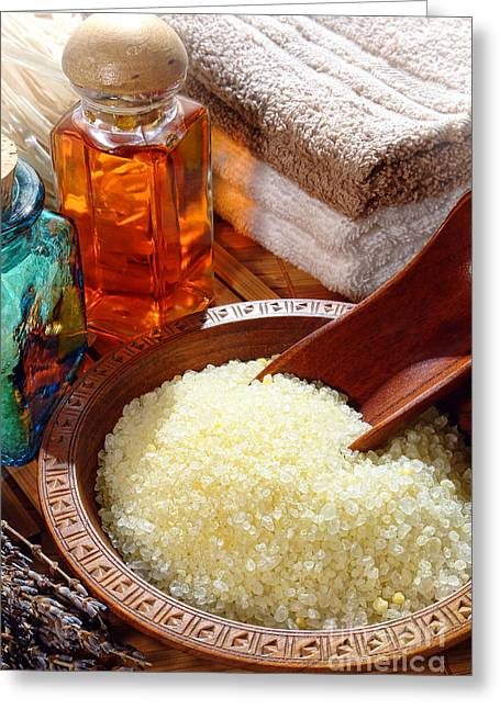 Bodycare Greeting Cards - Sea Bath Salts Greeting Card by Olivier Le Queinec
