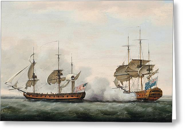 Sailboats At The Dock Greeting Cards - Sea Battle Greeting Card by Francis Holman