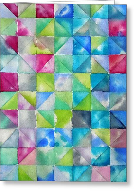 Sea Blue Geometry Greeting Card by Roleen  Senic