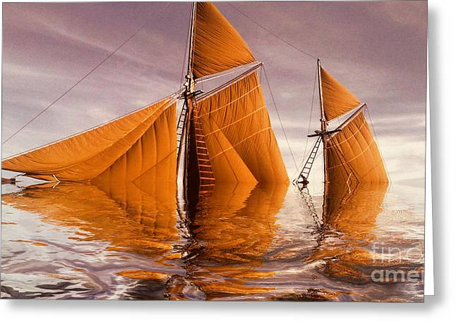 Sailing Boat Greeting Cards - Sea Boat Collections - Naufrage  c02 Greeting Card by Variance Collections