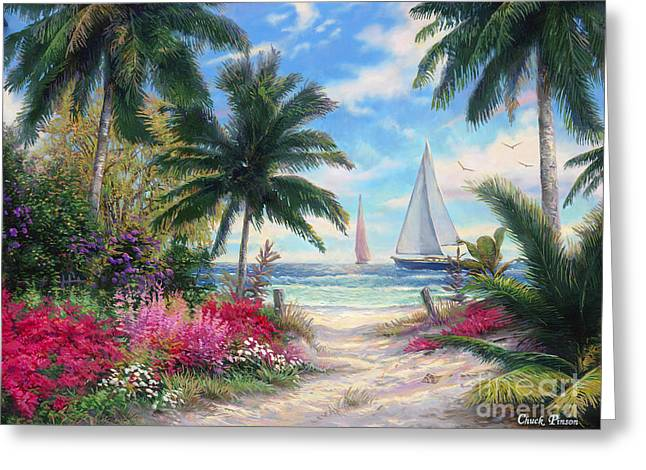 Palm Greeting Cards - Sea Breeze Trail Greeting Card by Chuck Pinson