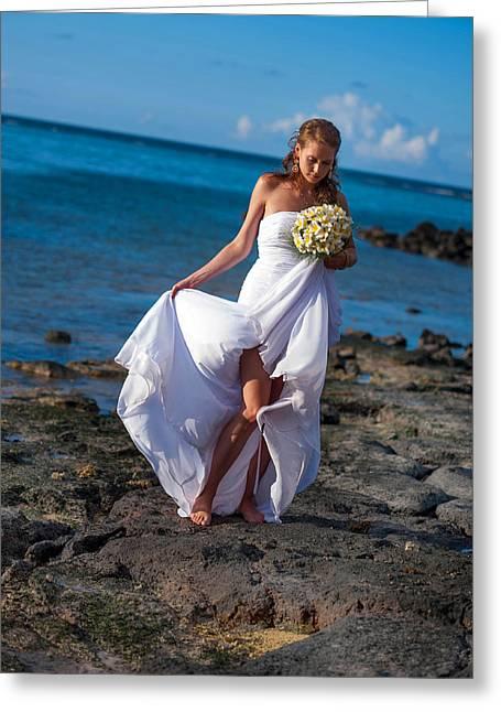 Brides Dress Greeting Cards - Sea Bride  Greeting Card by Jenny Rainbow