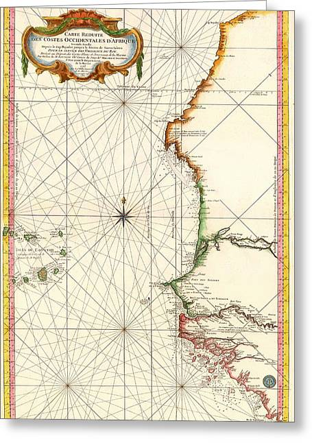 Old Country Roads Drawings Greeting Cards - Sea Chart of Western Africa 1865 Greeting Card by Mountain Dreams