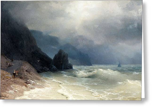 Featured Art Greeting Cards - Sea Coast Greeting Card by Ivan Konstantinovich Aivazovsky