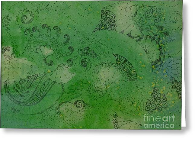 Stippling Paintings Greeting Cards - Sea Dance Greeting Card by Leala Dunn