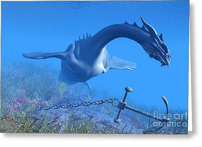 Fantasy Creature Digital Greeting Cards - Sea Dragon and Anchor Greeting Card by Corey Ford