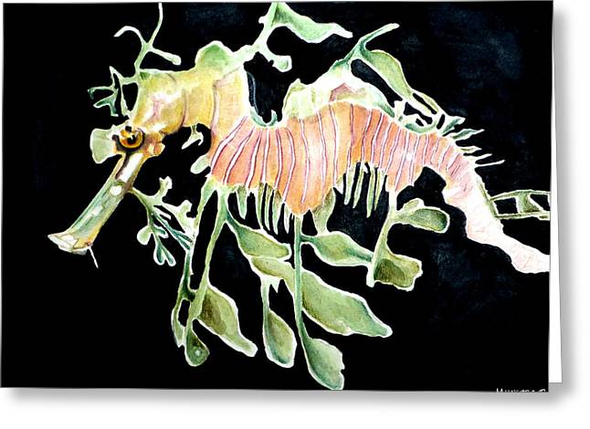 Leafy Sea Dragon Paintings Greeting Cards - Sea Dragon Greeting Card by Marley Ungaro